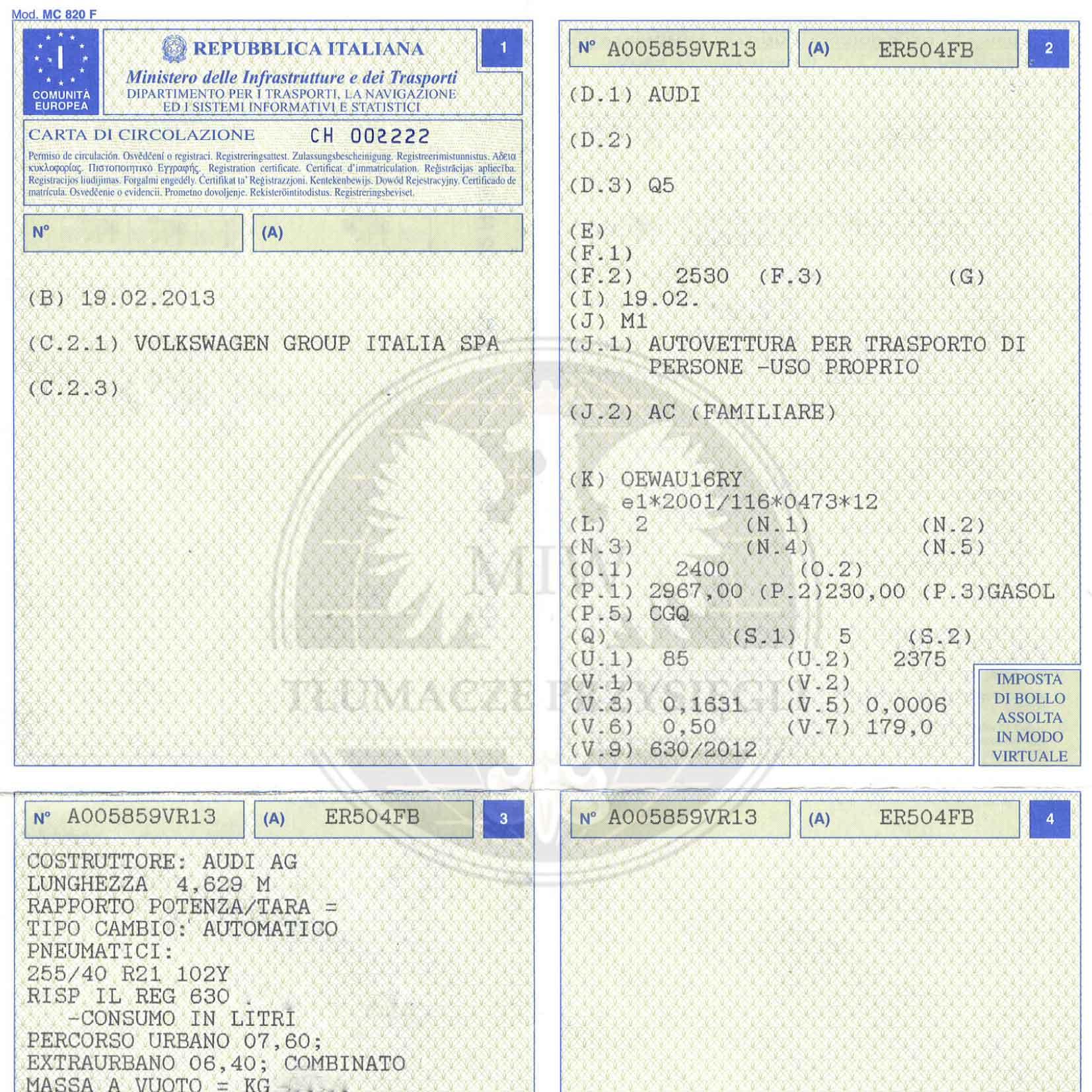 Włoski dowód rejestracyjny