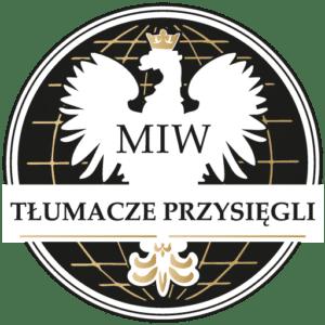 Logo Tłumacze przysięgli miw logo z orłem