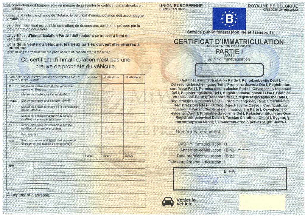 dokumenty samochodowe z Belgii