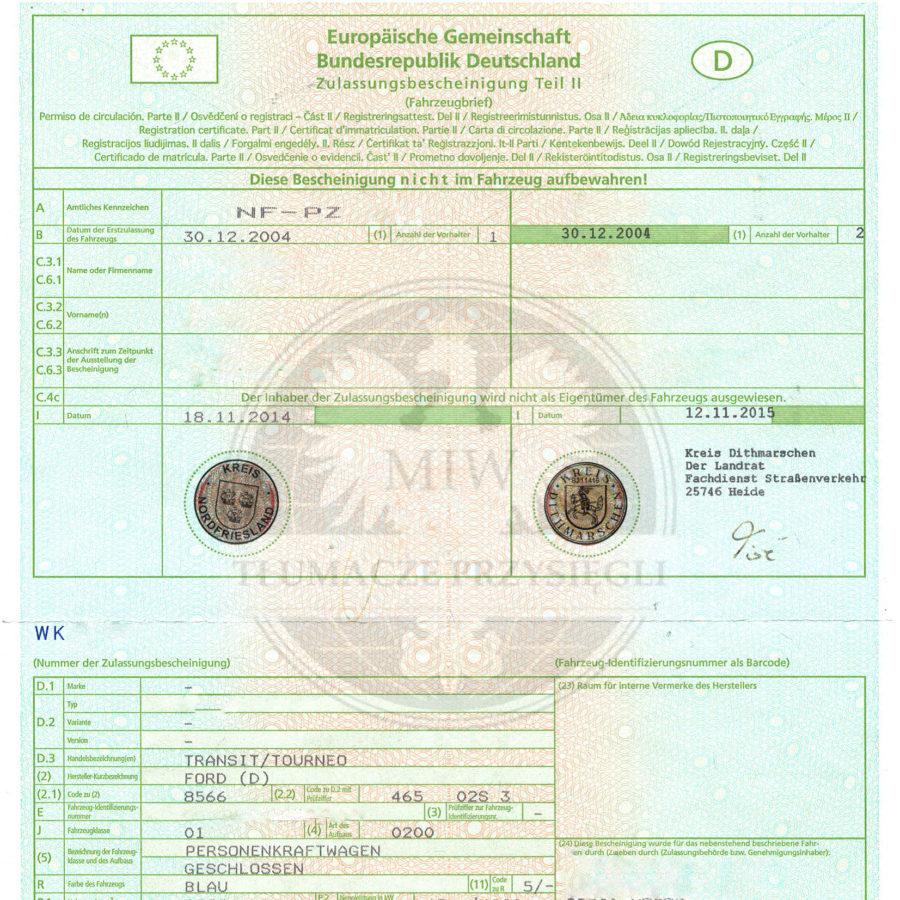 Tłumaczenie dokumentów samochodowych. Wzory dokumentów rejestracyjnych niemieckich.